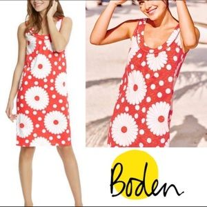 Boden Coral Daisy Floral Cotton Jersey Dress 6